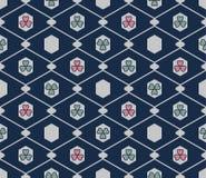 Japanese Hexagon Flower Seamless Pattern. On blue background stock illustration