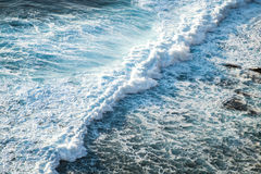 Wave pattern, aerial view. Wave pattern in the ocean, aerial view Royalty Free Stock Photo