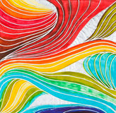 Wave pattern drawn by watercolor paints Stock Photography