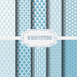 10 wave patterns blue 3. 10 different classic wave vector patterns. Endless texture can be used for wallpaper, pattern fills, web page background,surface Royalty Free Stock Photo