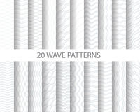 20 wave patterns. 20 soft gray wave patterns, Pattern Swatches, vector, Endless texture can be used for wallpaper, pattern fills, web page,background,surface Vector Illustration