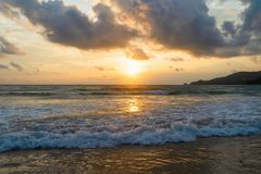 Wave at Phuket beach, Andaman Sea at sunset in Thailand. Nature sky background.  royalty free stock photos
