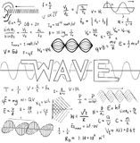 Wave physics science theory law and mathematical formula equatio. N, doodle handwriting and frequencies model icon in white isolated background paper used for Royalty Free Stock Photos
