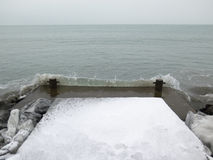 Wave at the pier, winter, ice, sea Stock Image