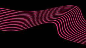 Wave Pink lines on black background. Abstract vector illustration Stock Photo