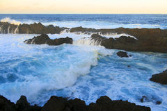 Wave in the pool of wind. Charco del viento, La Guancha, Tenerife, Canary island, Spain stock photo