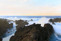 Wave in the pool of wind. Charco del viento, La Guancha, Tenerife, Canary island, Spain Royalty Free Stock Photography