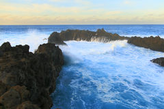 Wave in the pool of wind. Charco del viento, La Guancha, Tenerife, Canary island, Spain Stock Images