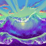 Wave. And the rays of the sun, passing through the water Stock Photography