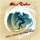 Wave Riders vector surfing label. With the silhouette of a male surfer on his board riding a curling tube wave with the text - Wave Riders - and - West Coast Royalty Free Stock Images