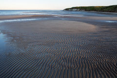 Wave ripples on a sandbank of the river. Royalty Free Stock Photo