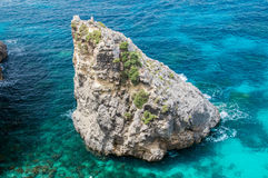 Wave and rocks in Blue Lagoon at Comino Island in Malta. Stock Photo