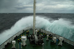 Wave rolling over the snout of the ship Royalty Free Stock Photography