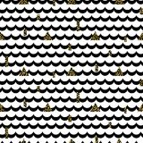 Wave rows black on white with shimmer accents pattern. Stock Images