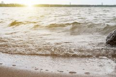 The wave rushes to the sandy shore. Sunset Stock Photo
