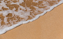Wave on sandy beach. A small wave rolls onto a sandy tropical beach Stock Images