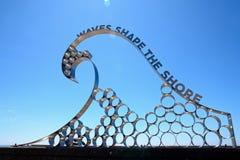 Wave sculpture, Seaton. Royalty Free Stock Photos