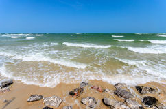 Wave of Sea, Beach and Blue Sky Royalty Free Stock Image