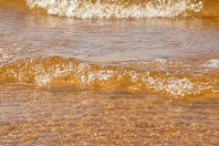 Wave sea beach on top view Royalty Free Stock Photo