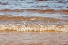Wave sea beach on top view Royalty Free Stock Image