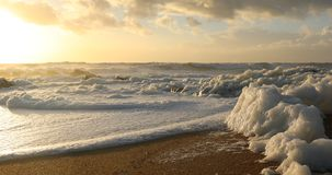 Wave of sea foam on the beach at sunset stock footage