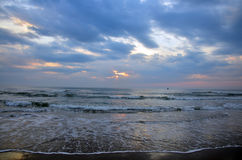 Wave in the sea at Morning and sunrise time Royalty Free Stock Photo