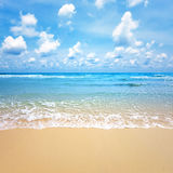Wave of the sea on the sand beach Stock Photography