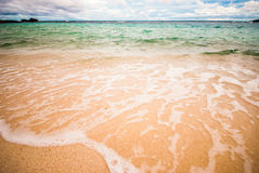 Wave of the sea on the sand beach Royalty Free Stock Photography