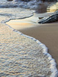Wave of the sea on the sand beach. Seashore on sunset Royalty Free Stock Image