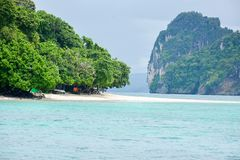 Wave of the sea on the sand beach. Beach and tropical sea, Paradise idyllic beach Krabi, Thailand, Summer holidays, Ocean in the evening as nature travel Stock Photography