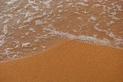 Wave of sea on sandy beach with foam, a lot of space for text Stock Images