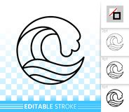 Wave sea simple black thin line splash vector icon royalty free illustration