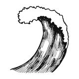 Wave sea sketch vector isolated silhouette.  vector illustration