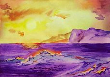Wave in the sea at sunset near the coast and mountains, watercolor