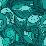 Wave seamless pattern. Hand drawn vector background Royalty Free Stock Photos