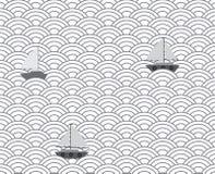 Wave seamless pattern. Mono black and white seamless pattern Stock Photo