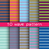10 wave seamless patterns for universal background. Endless texture can be used for wallpaper, pattern fill, web page background. Vector illustration for web Royalty Free Stock Photo