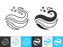 Wave see simple black thin line splash vector icon vector illustration