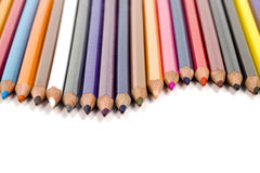 Wave set pencils. Wave of many colored pencils on a white background Royalty Free Stock Images