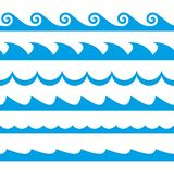Wave set. Waves seamless pattern. Decoration template of sea and ocean waves. Vector illustration. Wave set. Waves seamless pattern. Decoration template of sea royalty free illustration
