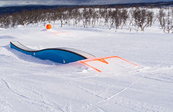 Wave shaped ramp in snowy fun park Stock Photos