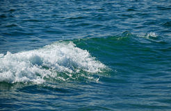Wave with shining foam in the middle of blue sea Stock Photo