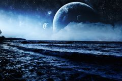 Fantasy Wavy Blue Shoreline Background. Wave shoreline fantasy environment with huge planets and moons with celestial elements such as stars and nebula clusters Stock Photography