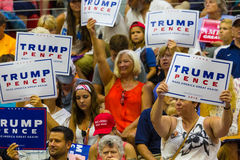 Wave Signs at Trump Rally Stock Photo