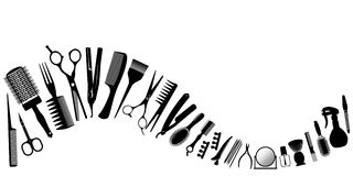 Wave from silhouettes of tools for the hairdresser. Vector illustration Stock Photography