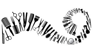 Wave from silhouettes of tools for the hairdresser Royalty Free Stock Photos