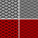 Wave simple seamless patterns. Set of wave ornaments. Wave simple seamless patterns Stock Image