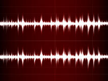 Wave Sound. On the red screen Royalty Free Stock Images
