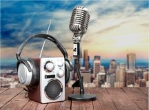 Wave sound radio. News broadcasting recorder frequency Royalty Free Stock Images