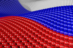 Wave of spheres in the colors of Russia. Wave of hundreds of glossy, reflective spheres with the colors of the flag of Russia. Shallow depth of field Royalty Free Stock Photography